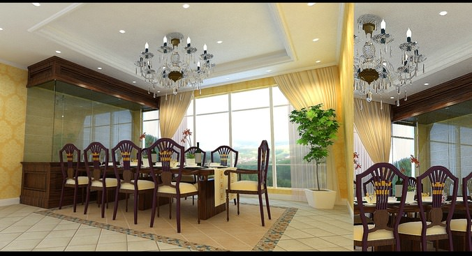 Deluxe Dining Space with Chandelier3D model