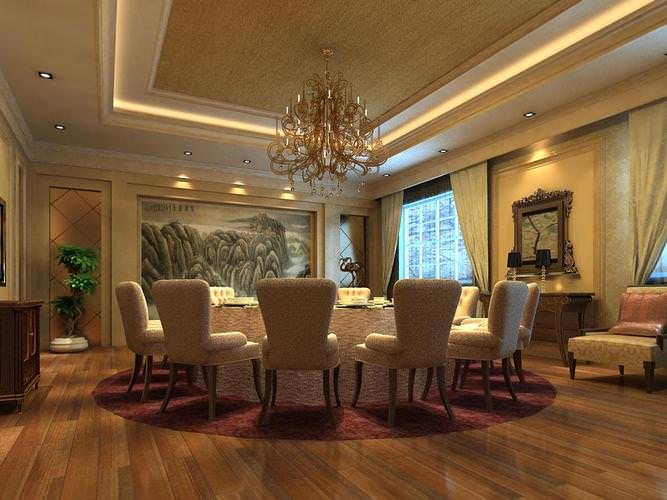 Grand Dining Space with Chandelier3D model