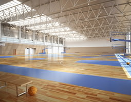 broad basketball arena with multiple courts 3d