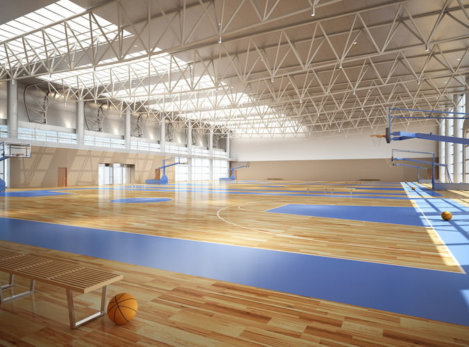 Broad Basketball Arena with Multiple Courts3D model