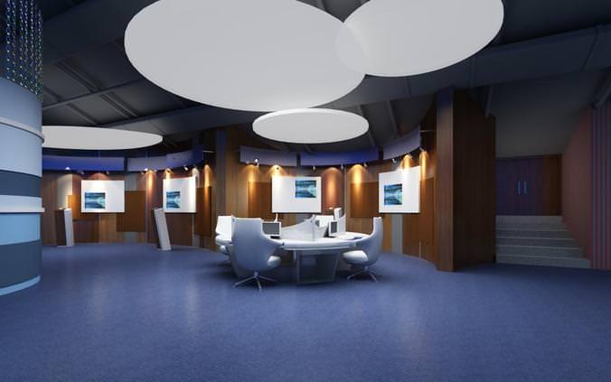office false ceiling. Exquisite Office With Fancy False Ceiling 3D Model