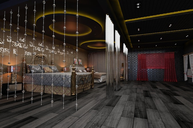 royal spa room with beds 3d model max 1