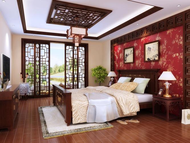Fully Furnished Master Bedroom3D model