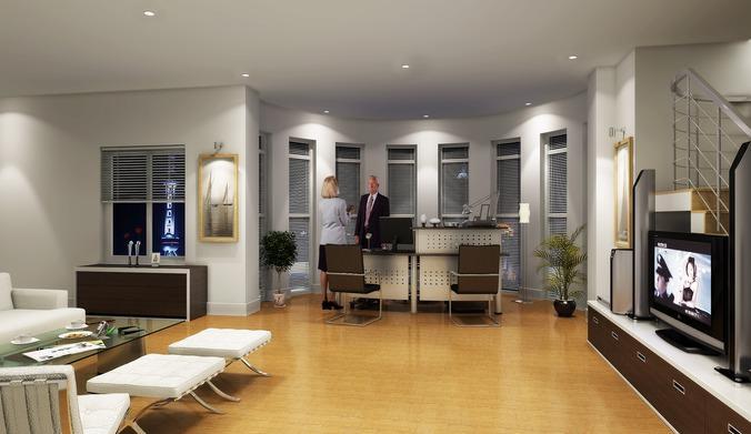 office cum living hall 3d model max 1