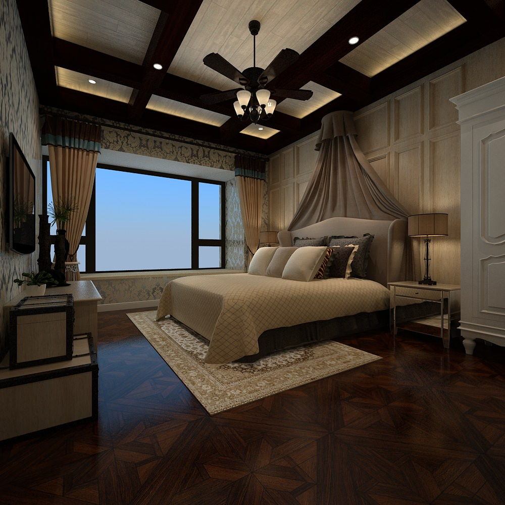 White Luxury Bedroom: Luxury White Bedroom 3D Model .max