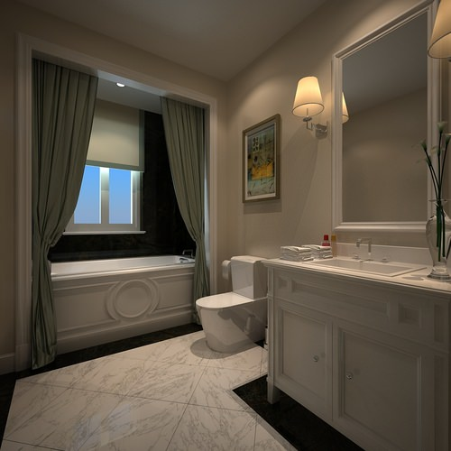 Light colors small bathroom 3d model max for Bathroom models small