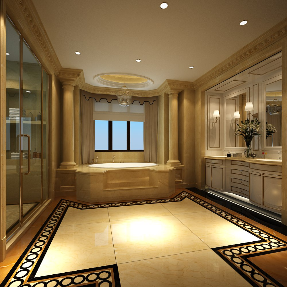 Luxury bathroom with huge bath 3d model max for Huge master bathroom