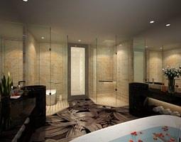 Modern Design Romantic Bathroom 3D Model