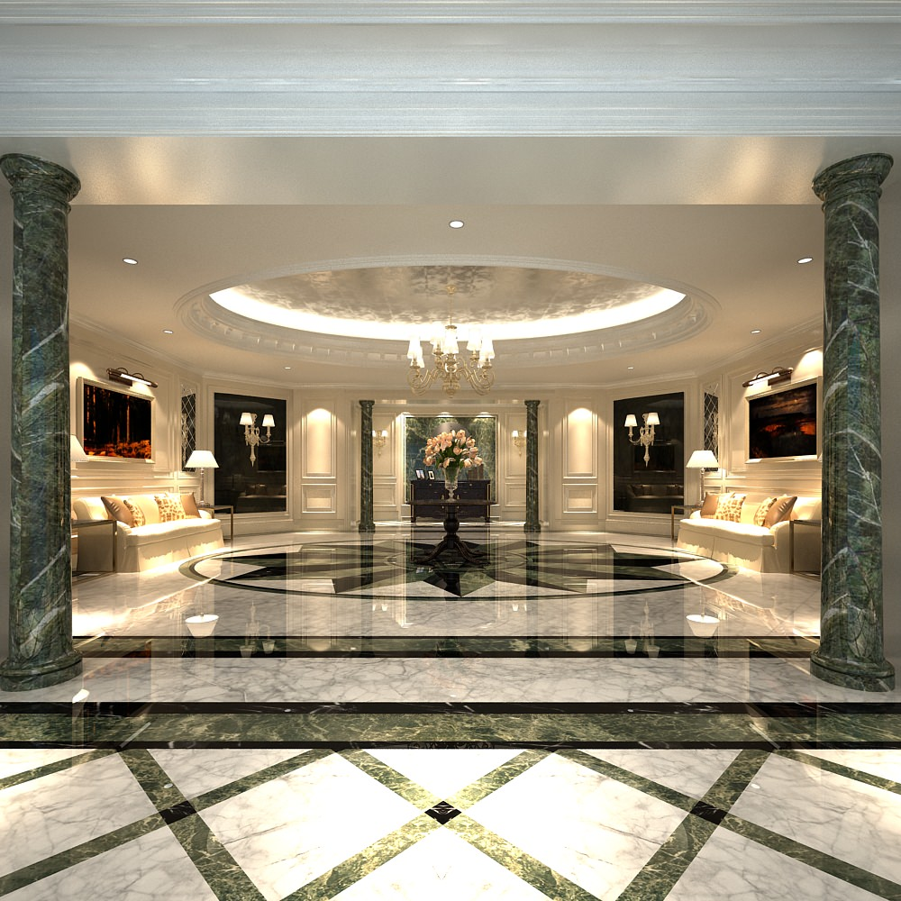 Luxury lobby with marble floor 3d model max for Luxury floor