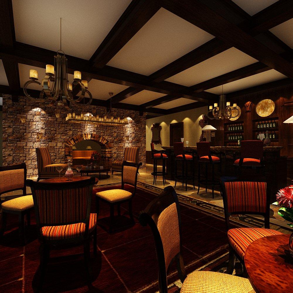 Retro style restaurant d model max cgtrader