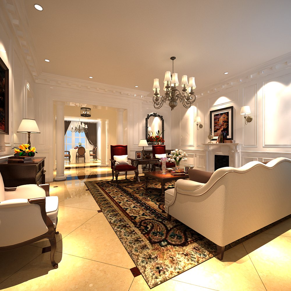 Luxury Living Room With Fancy Carpet 3d Model Max 1