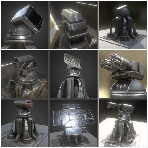 futuristic tower collection 3d model low-poly rigged animated obj mtl 3ds fbx dxf stl blend 1