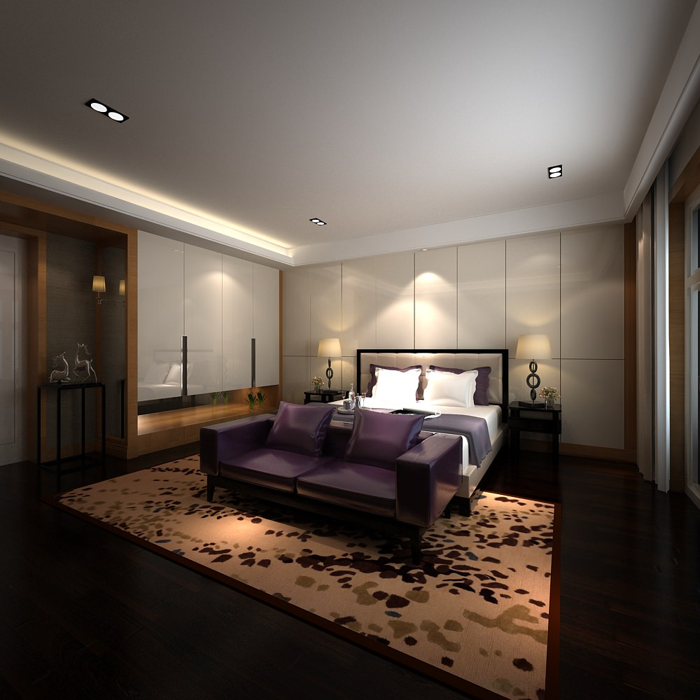 Modern Bedroom With Carpet 3D Model MAX