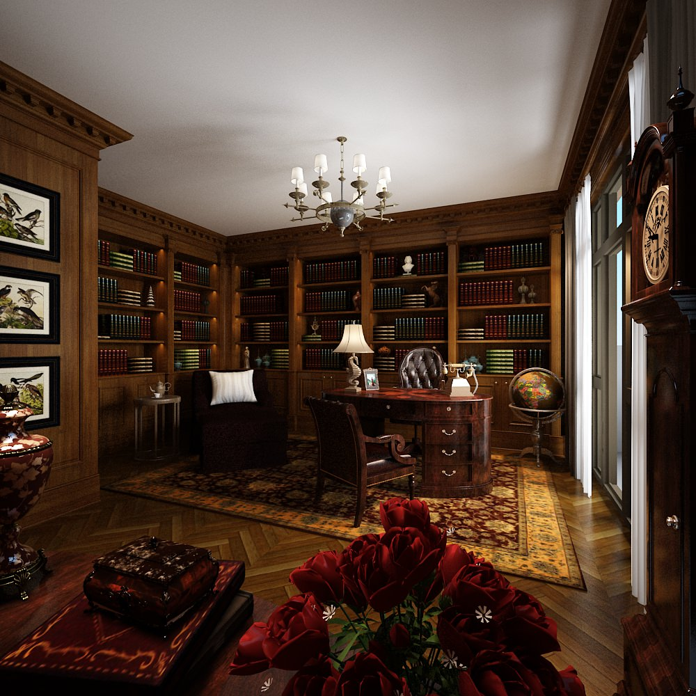3D model Classic home office with bookshelfs CGTrader