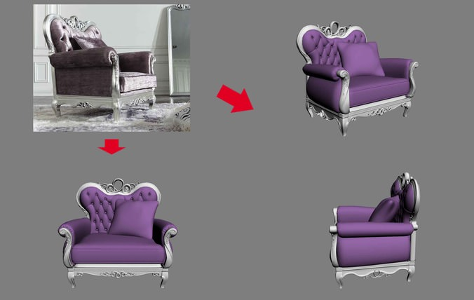 Luxurious soft sofa3D model