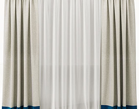 Curtains 3D model fabric curtain