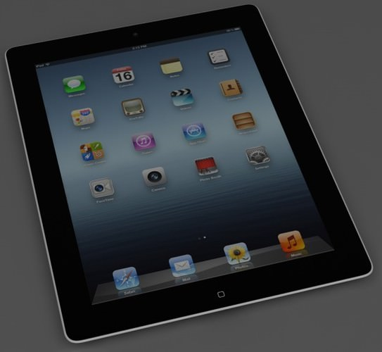 iPad 3 Wi-Fi 4G Black 3D Model .max .obj .3ds .fbx .lwo .lw .lws .c4d