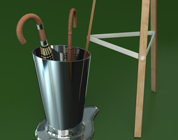 Coat Rack and Umbrella Stand 3D Model