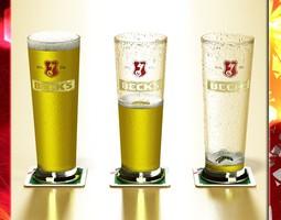 Becks Beer Glass Pint 3D