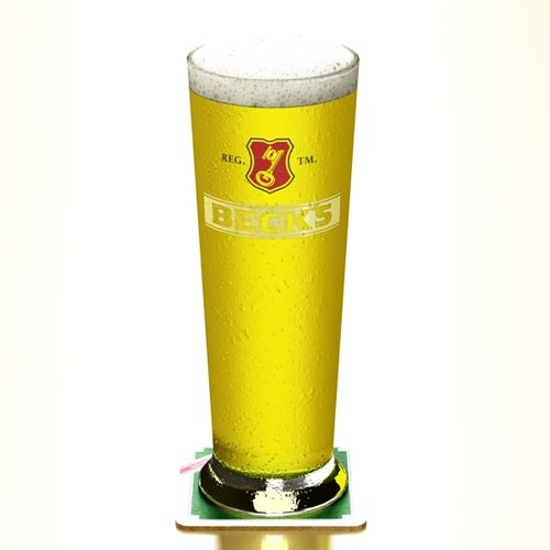 Becks Beer Glass Pint 3D Model .max .obj .3ds .fbx