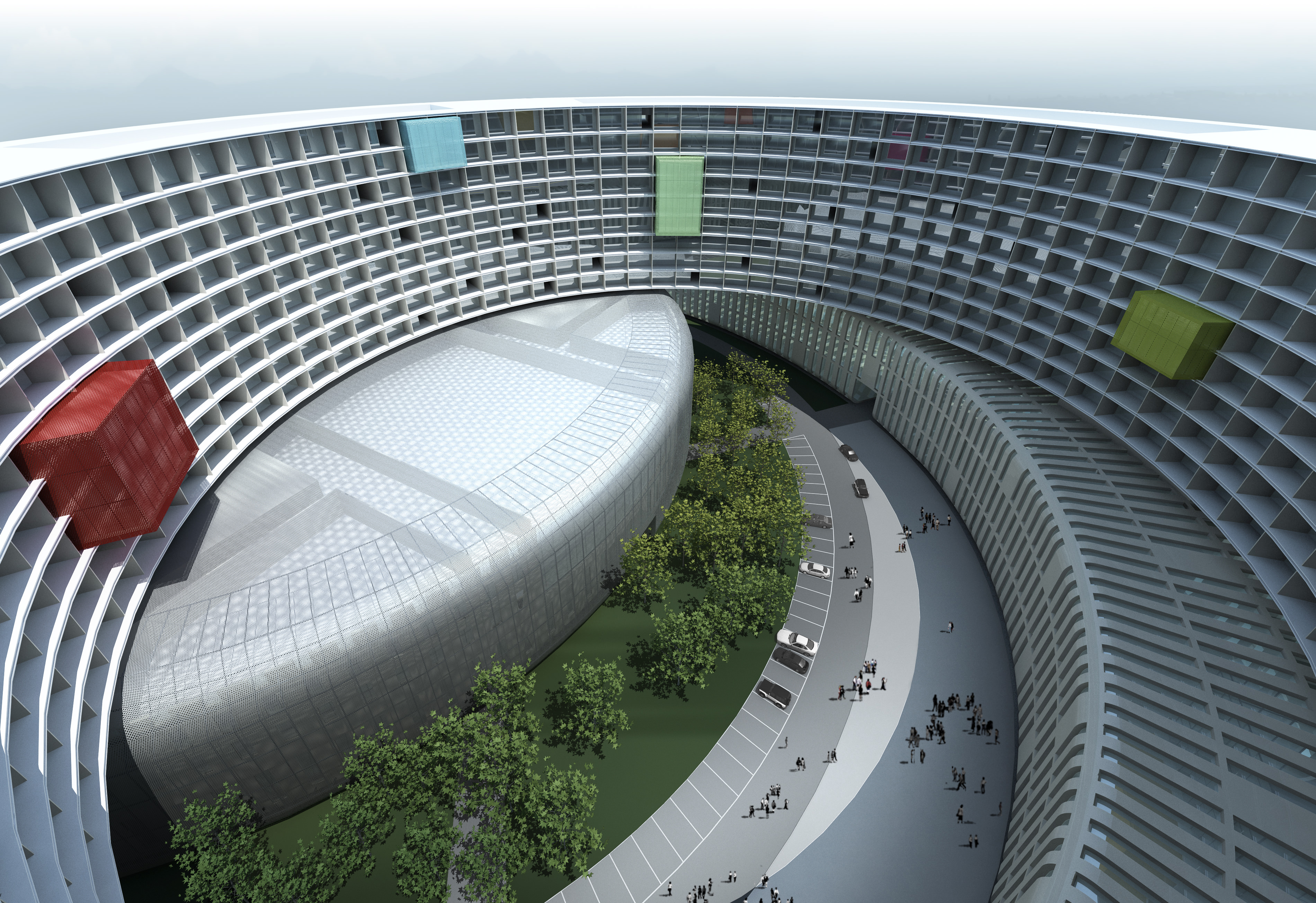 Huge modern business building with open sp 3d model for Open space inside a building