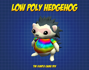 Cute Low Poly Hedgehog 3D asset