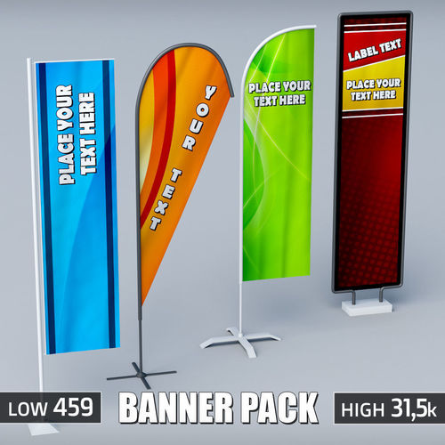 Banner commercial flag stand pack low poly