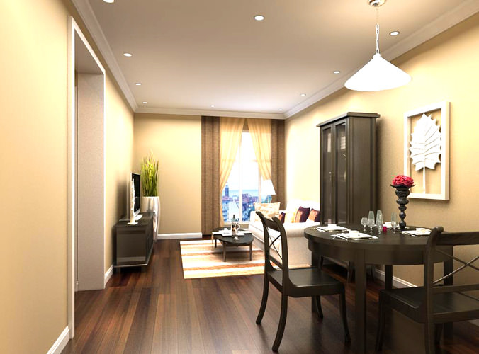 3d model home dining room with wooden furniture cgtrader for Model home dining room
