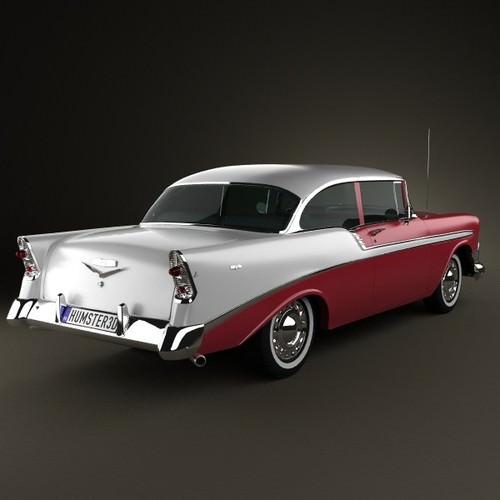 Chevrolet belair 2 door hardtop 1956 3d model max obj for 1956 belair 2 door