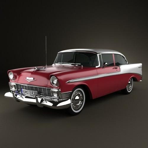 Chevrolet belair 2 door hardtop 1956 3d model max obj for 1956 chevy belair 2 door hardtop