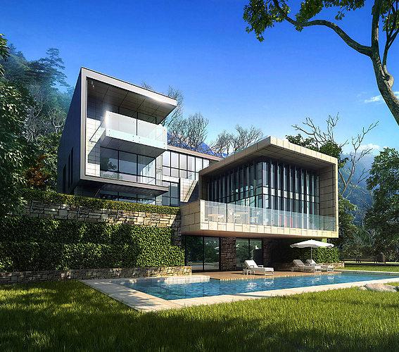 3d villa 022 cgtrader for Exterior 3d model