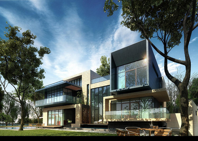 3d villa 023 3d model max - 3d max models free download exterior ...
