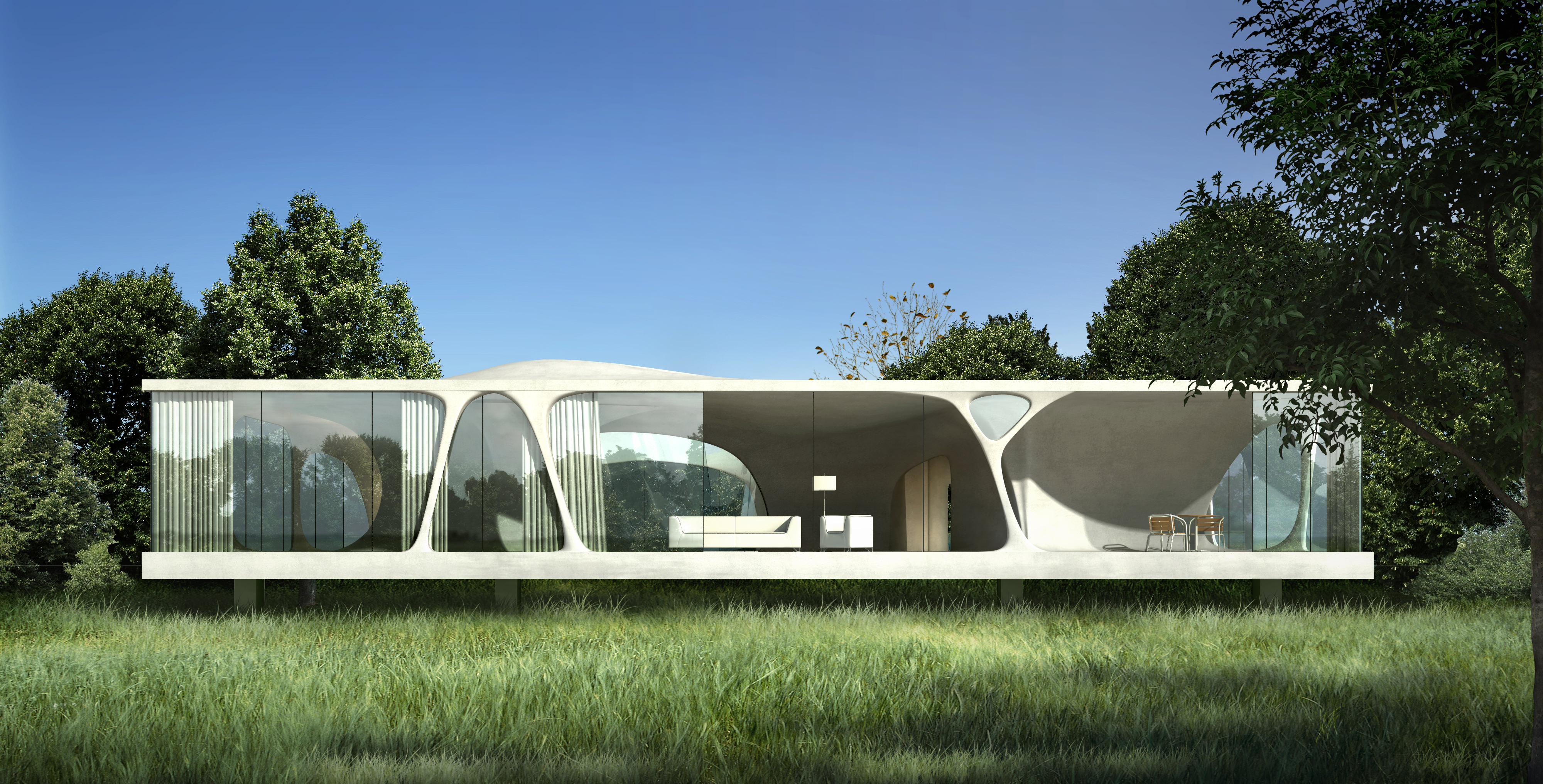 Modern Architecture Inside The Forest 3d Model Max