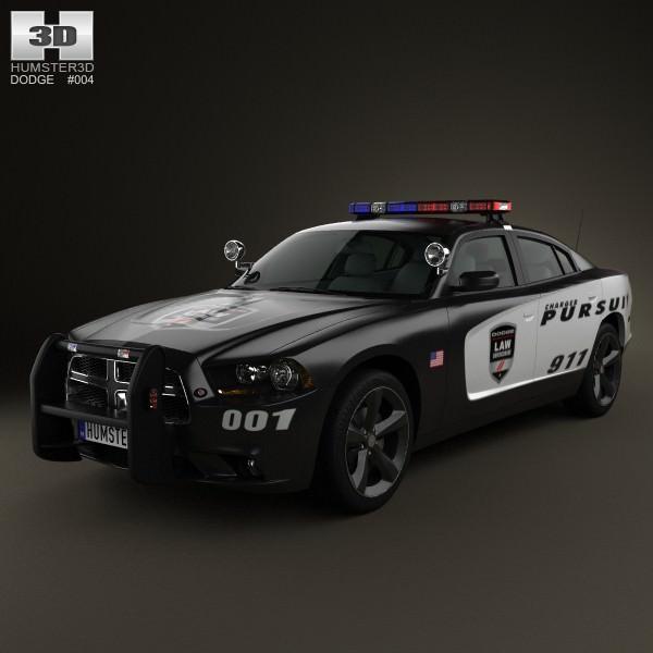 dodge charger police 2011 3d model max obj 3ds fbx c4d lwo. Black Bedroom Furniture Sets. Home Design Ideas