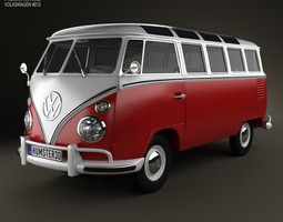 3d model volkswagen transporter t1 1950