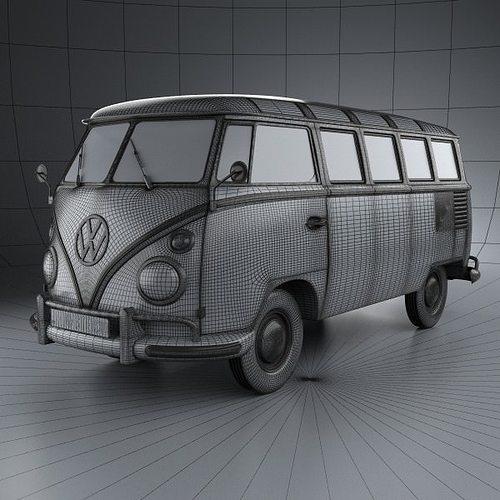 volkswagen transporter t1 1950 3d model max obj 3ds fbx. Black Bedroom Furniture Sets. Home Design Ideas