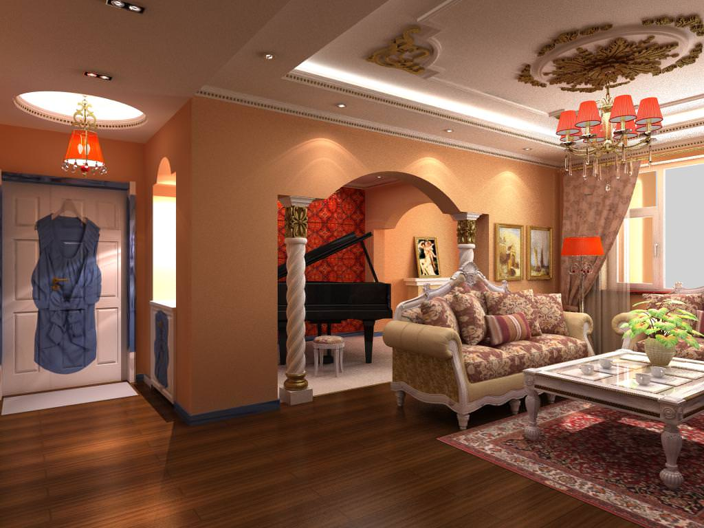 Home drawing room with luxury furniture 3d model max for Drawing room furniture pictures