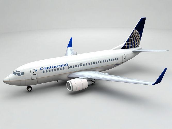 boeing 737-500 airliner - continental 3d model max obj 3ds dxf stl wrl wrz 1