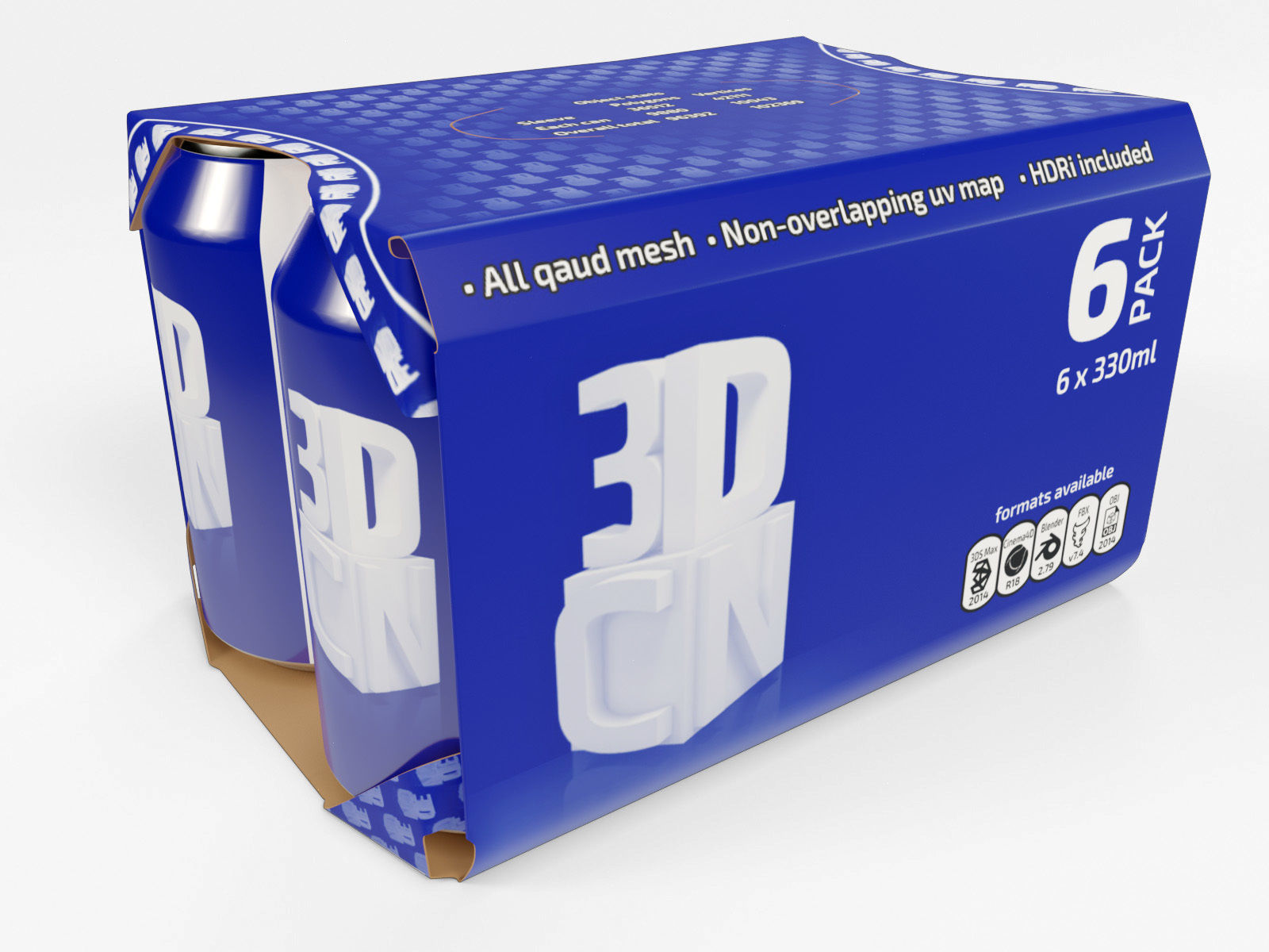 6 pack 330ml beverage cans in a cardboard sleeve