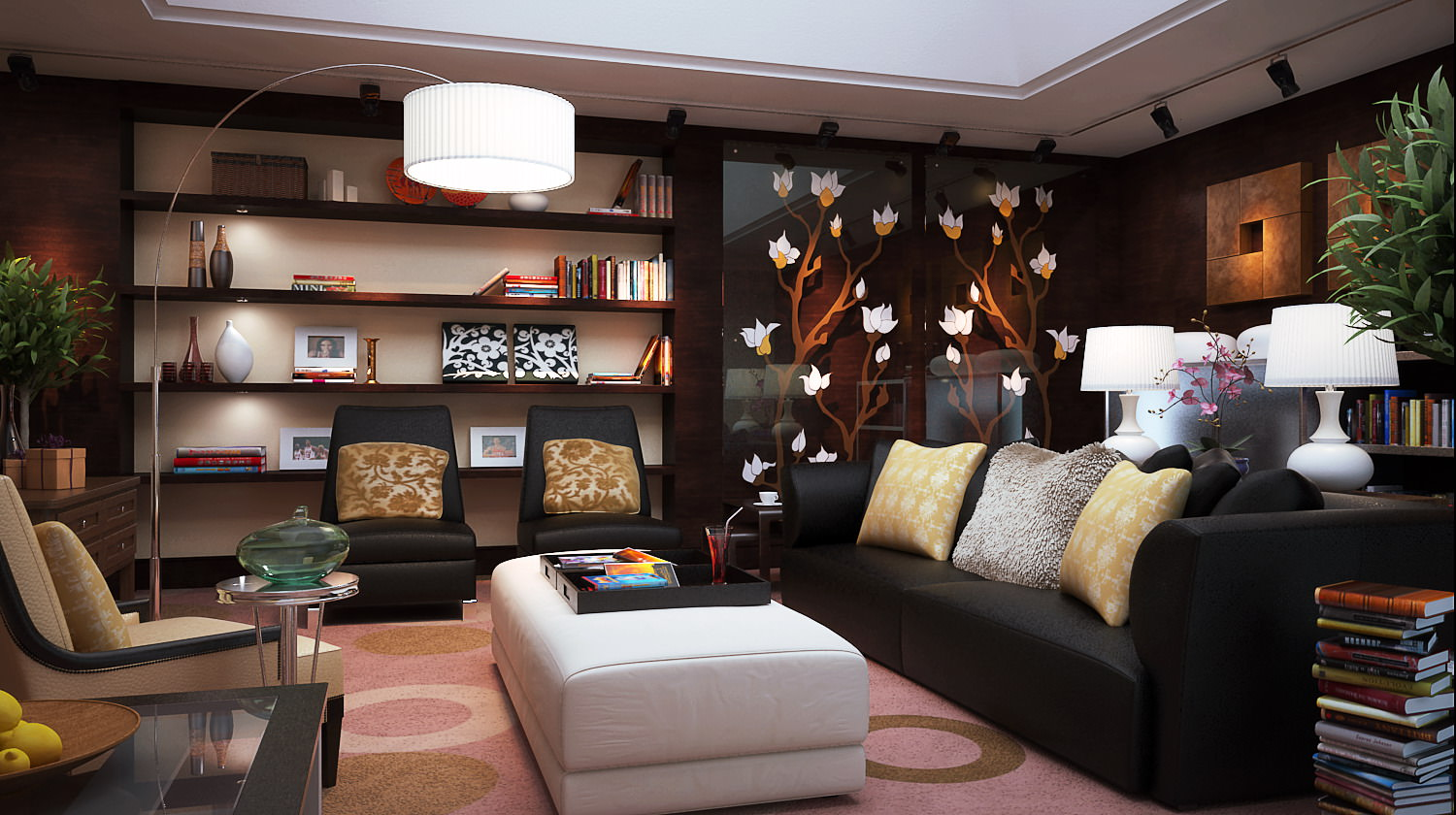 Living Room With Exquisite Wall Showcase 3d Model Max 1 ... Part 52