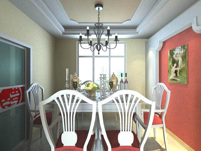 Dining Room With Wall Painting 3d Model