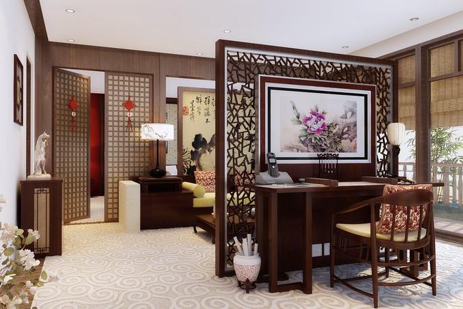 Brilliant Bedroom Cum Office Space 3D Model Max Largest Home Design Picture Inspirations Pitcheantrous