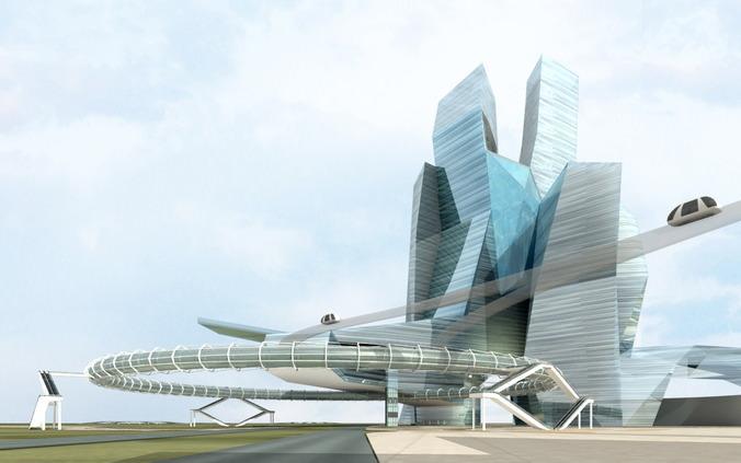 Future city skyscraper3D model