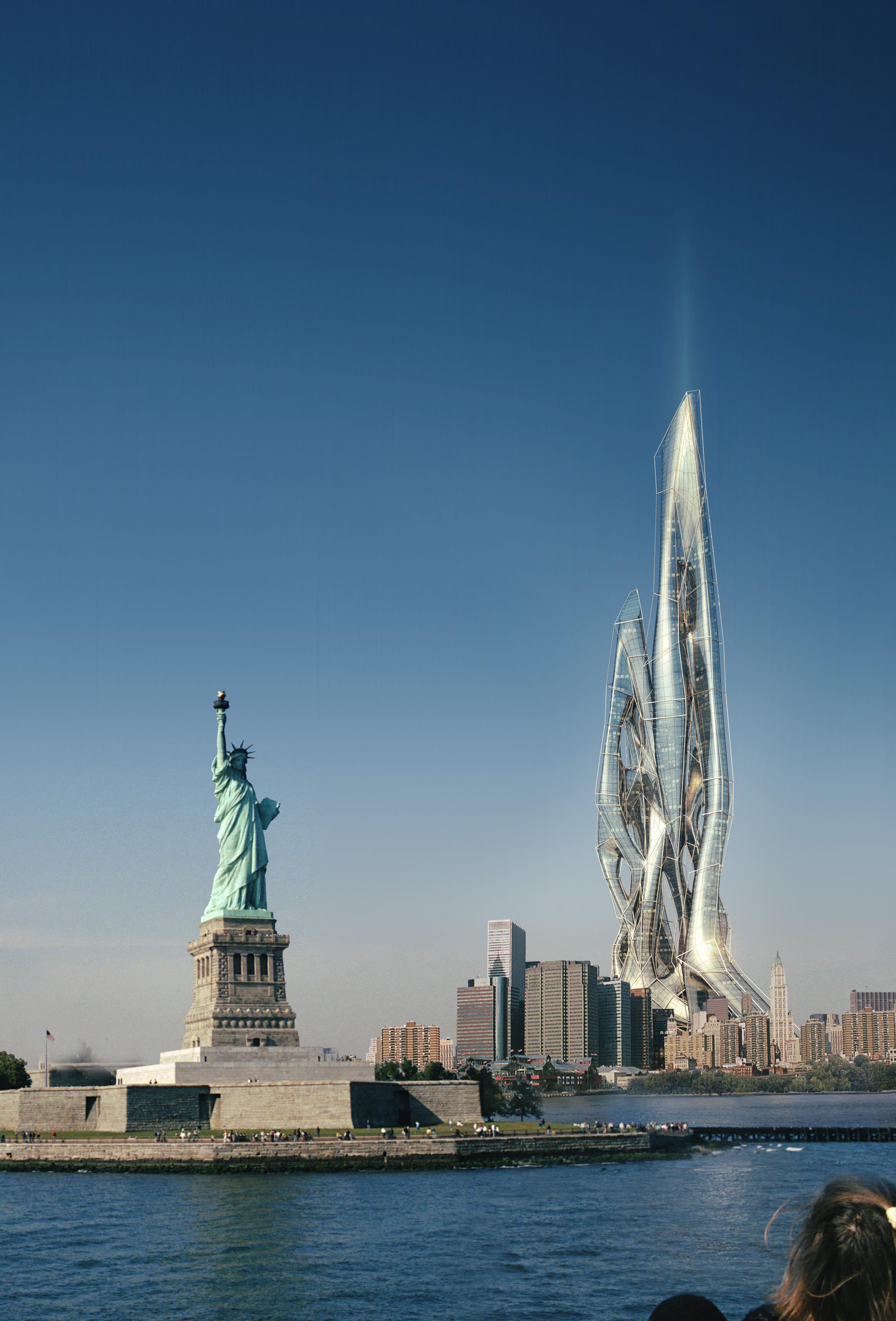 Futuristic Skyscraper In New York on Modern Asian House