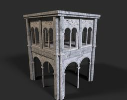 Medieval ruin 3D asset game-ready