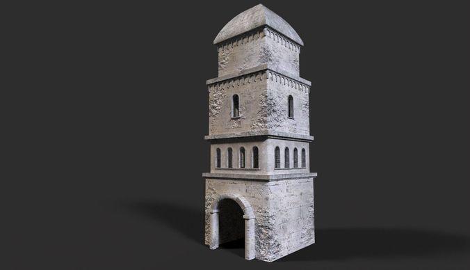 medieval ruin 3d model low-poly obj mtl 3ds fbx dae 1