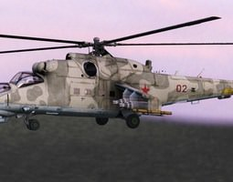 Mi24 Hind Russian Helicopter Gunship 3D Model