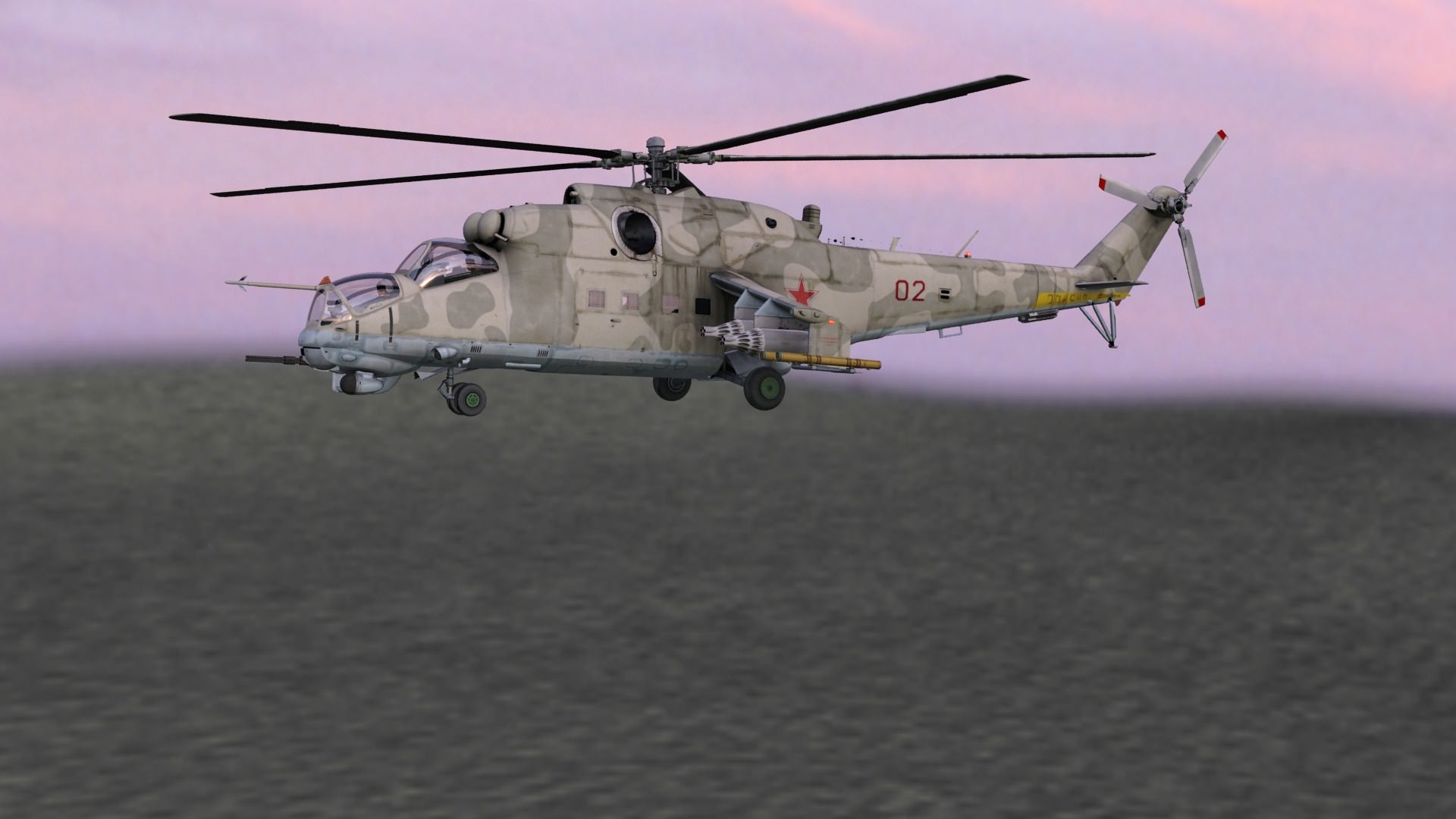 Mi24 Hind Russian Helicopter Gunship 3D Model Game ready ...