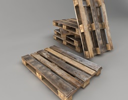 3D asset Old Pallet Low Poly