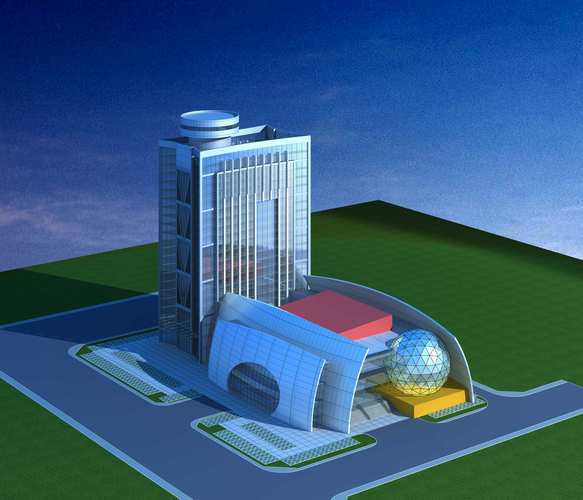 Commercial building with exotic exterior 3d model max 3ds for Exterior 3d model